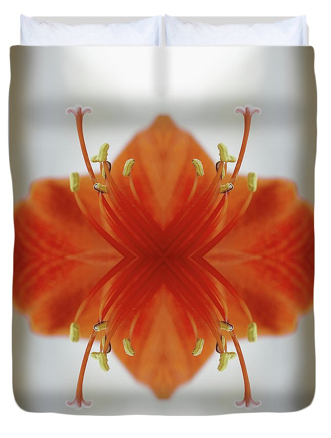 Tranquility Duvet Cover featuring the photograph Red Amaryllis Flower by Silvia Otte