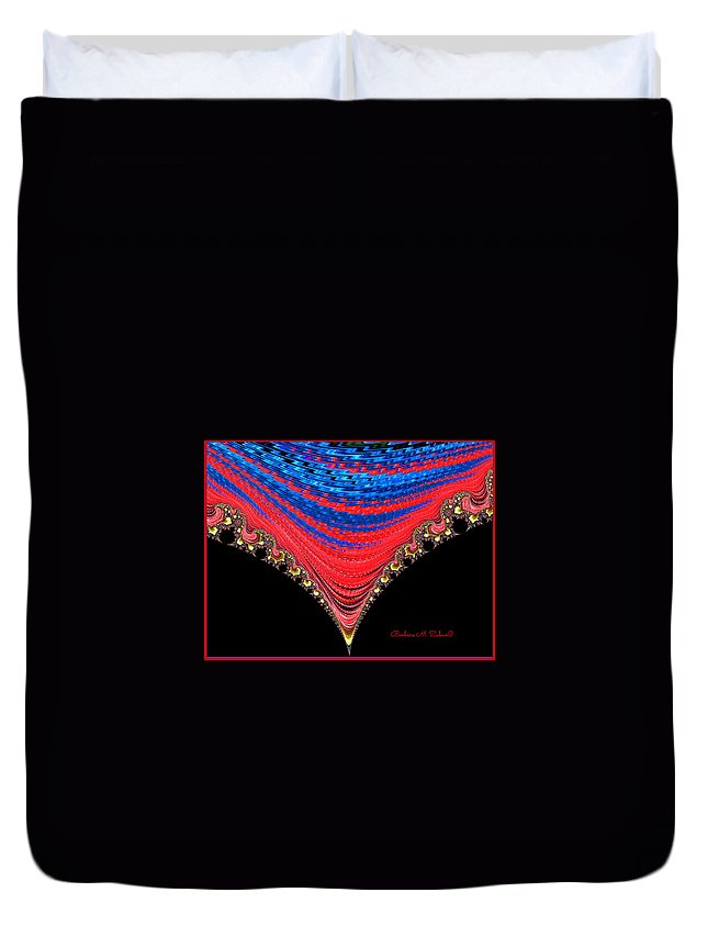 Abstract Duvet Cover featuring the photograph Red And Blue Shawl by Barbara Zahno
