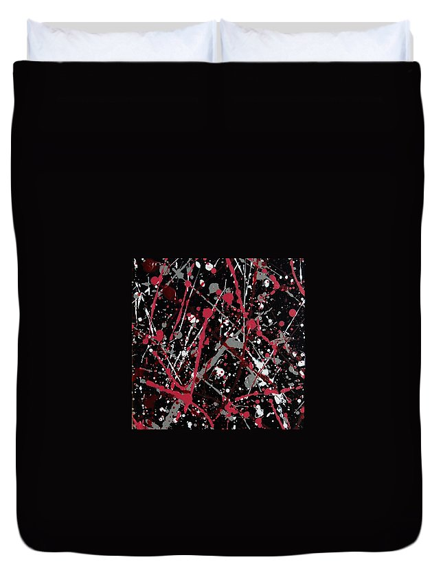 Linda Brody Duvet Cover featuring the painting Red And Grey Paint Splatter II by Linda Brody