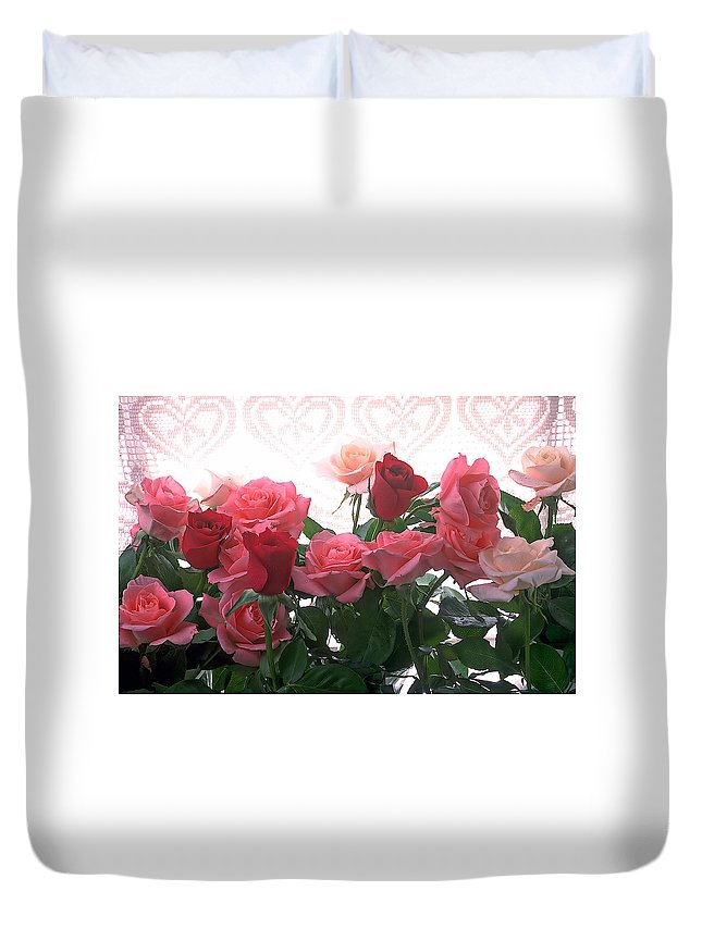 Rose Duvet Cover featuring the photograph Red And Pink Roses In Window by Garry Gay
