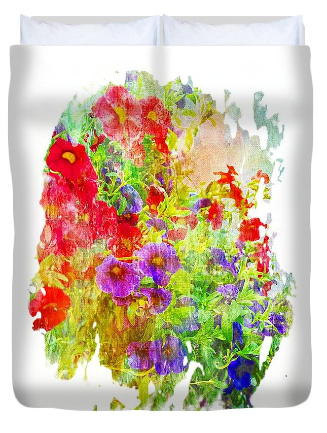 Flower Duvet Cover featuring the photograph Red And Purple Calibrachoa - Digital Paint II by Debbie Portwood