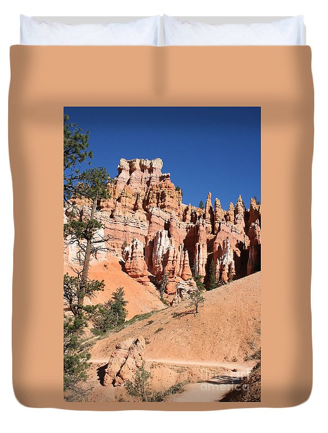 Canyon Duvet Cover featuring the photograph Red And White Rocks - Bryce Canyon by Christiane Schulze Art And Photography