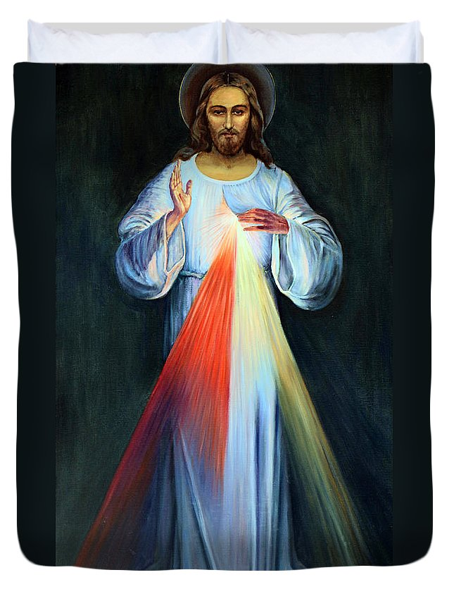 Jesus Duvet Cover featuring the photograph Red And Yellow Lights by Munir Alawi