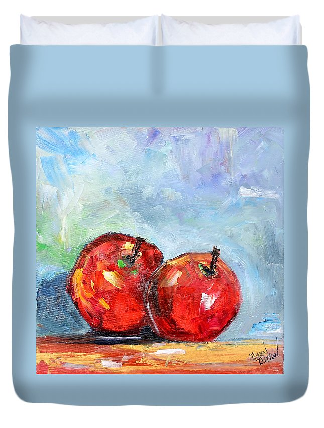 Apples Duvet Cover featuring the painting Red Apples by Karen Tarlton