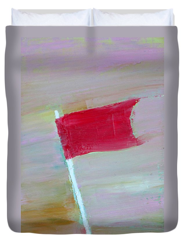 Flag Duvet Cover featuring the painting Red Banner by Fabrizio Cassetta