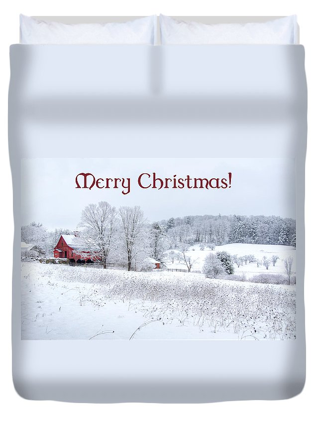 Card. Cards Duvet Cover featuring the photograph Red Barn Christmas Card by Donna Doherty