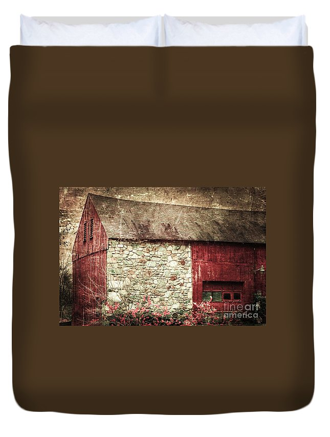 Red Duvet Cover featuring the photograph Red Barn Enhanced by Judy Wolinsky