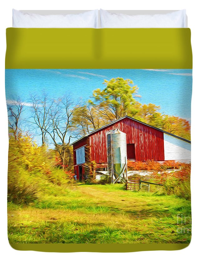 Red Barn Duvet Cover featuring the photograph Red Barn In Autumn by Laura D Young