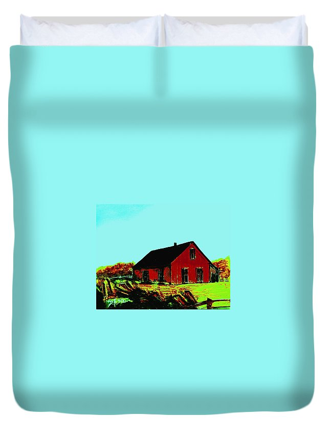 Countryside Duvet Cover featuring the painting Red Barn  Number 5 by Diane Strain