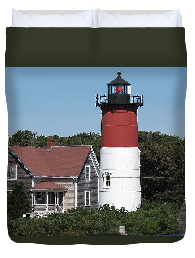 Lighthouse Duvet Cover featuring the photograph Red Beacon On Nauset Light by Barbara McDevitt