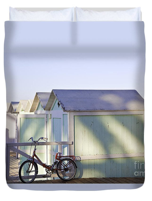 Cabana Duvet Cover featuring the photograph Red Bicycle At Mondello Beach by Madeline Ellis