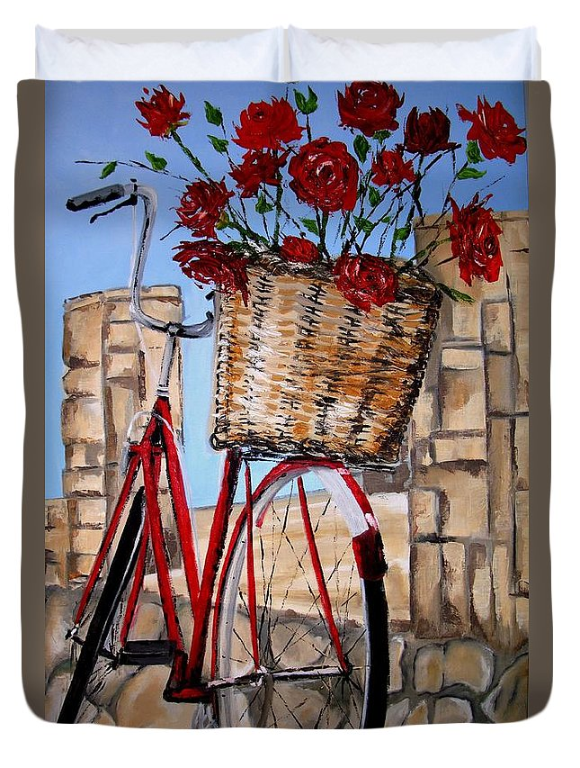 Red Duvet Cover featuring the painting Red Bicycle by Sunel De Lange