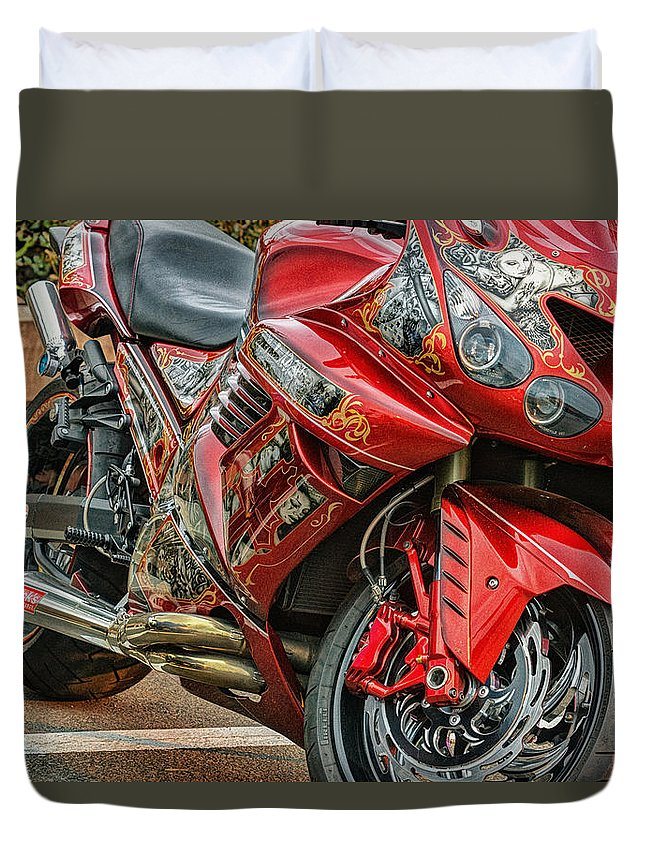 Motorcycle Speed Power Sport Bike Motorbike Motor Transportation Race Engine Wheel Vehicle Biker Competition Illustration Helmet Vector Road Extreme Fast Rider Cycle Drive Fun Black Car Transport Freedom Motorsport Ride Duvet Cover featuring the photograph Red Bike by John Swartz