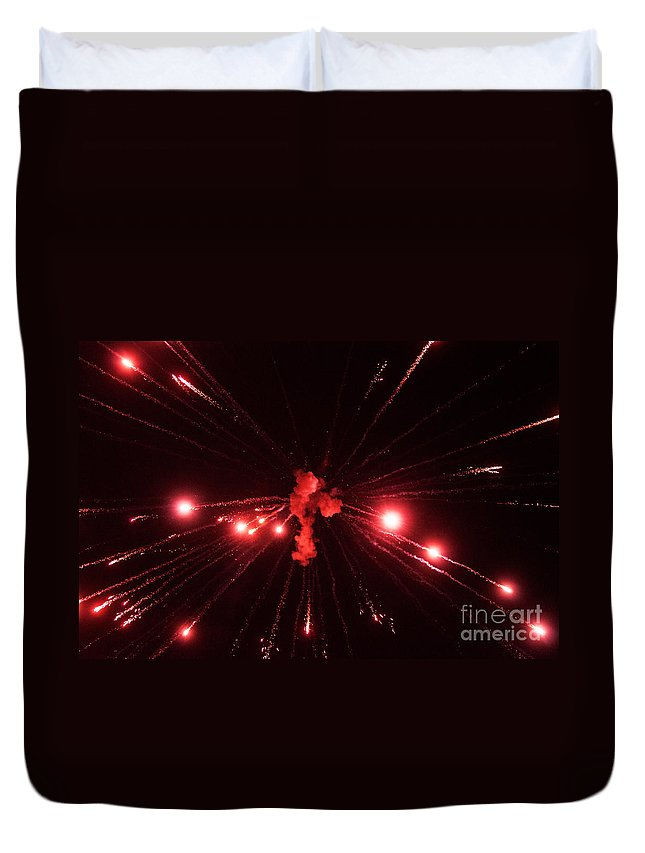 Fire Duvet Cover featuring the photograph Red Blast And Smoke by Photos By Cassandra