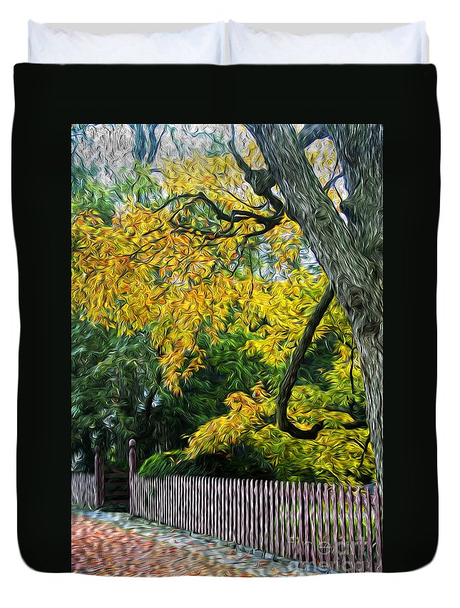 Tree Duvet Cover featuring the photograph Red Brick Sidewalk by Paul W Faust - Impressions of Light