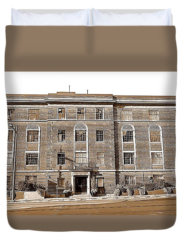 Red Duvet Cover featuring the photograph Red Bricks Building In Sepia by Valentino Visentini
