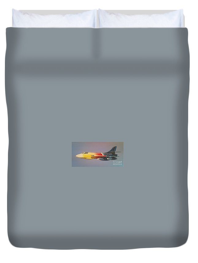 Warbird Duvet Cover featuring the painting Red Bull Hawker Hunter Miss Demeanour by Richard John Holden RA