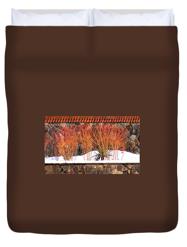 Landscapes Duvet Cover featuring the photograph Red Bushes And Rock Wall by Duane McCullough