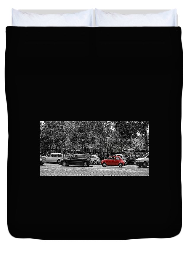 Paris Duvet Cover featuring the photograph Red Car In Paris by Nigel R Bell