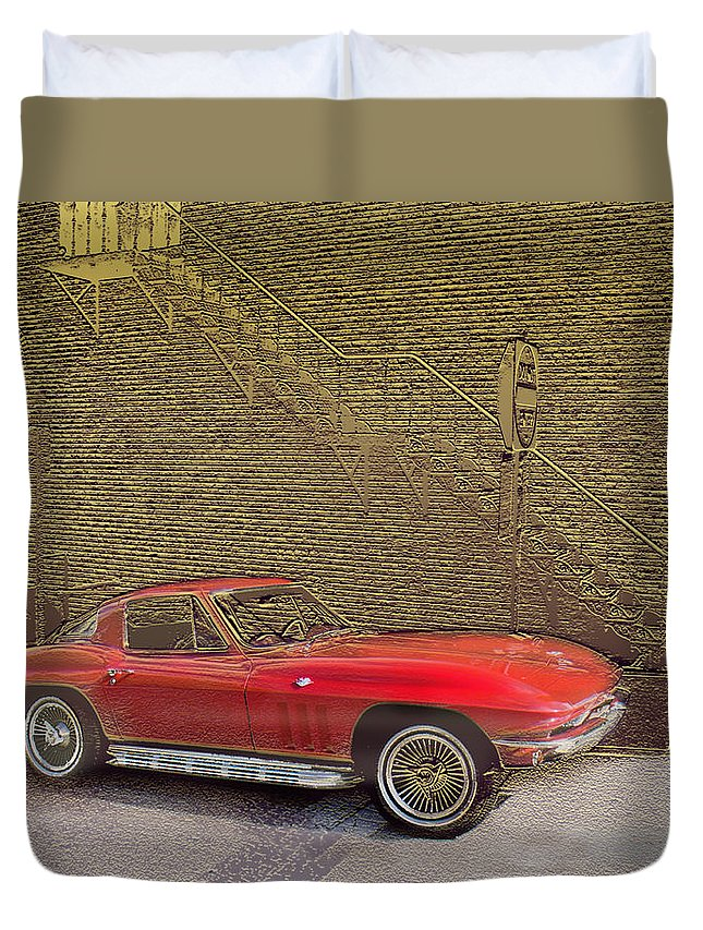 Cars Duvet Cover featuring the mixed media Red Corvette by Steve Karol