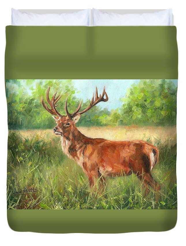 Deer Duvet Cover featuring the painting Red Deer by David Stribbling