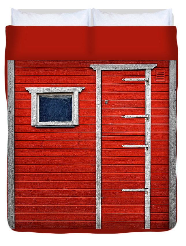 Built Structure Duvet Cover featuring the photograph Red Door And Window With White Frames - by Makasu