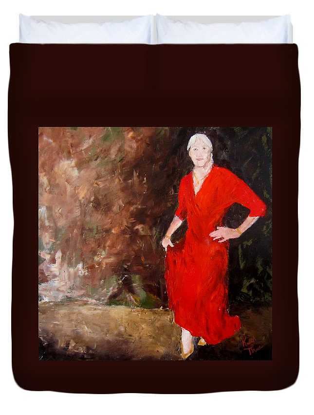 Red Dress Duvet Cover featuring the painting Red Ellegance by Keith Thue