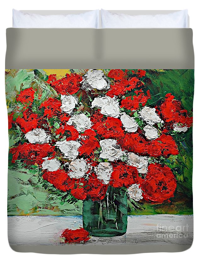 Landscape Duvet Cover featuring the painting Red Explosion by Allan P Friedlander