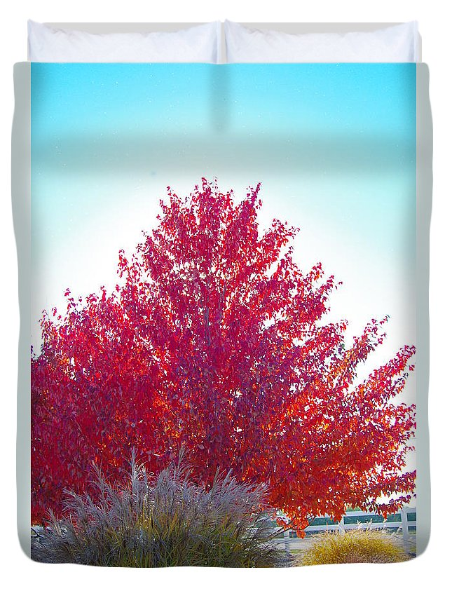 Fall Tree Colors Duvet Cover featuring the photograph Red Explosion by Mike Wheeler