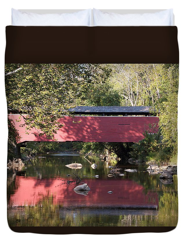 Fairhill Covered Bridge Red Delaware Duvet Cover featuring the photograph Red Fairhill Covered Bridge Two by Alice Gipson