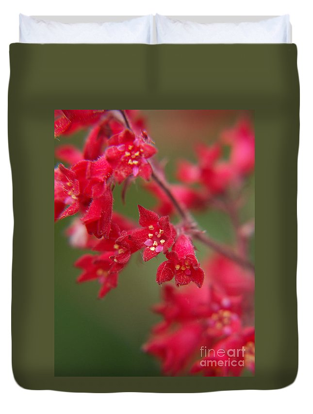 Wildflowers Duvet Cover featuring the photograph Red Fairy Trumpets by Jackie Farnsworth