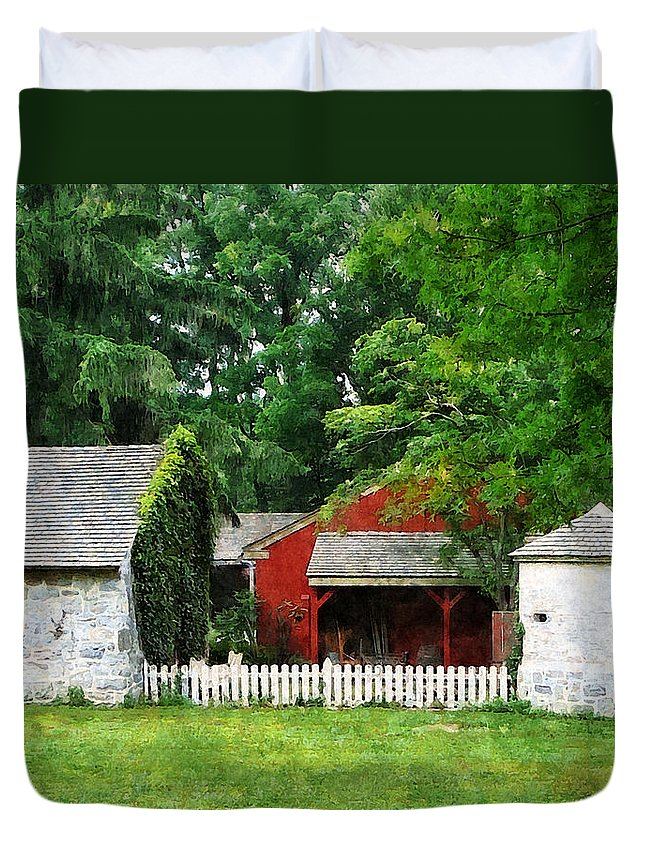 Silo Duvet Cover featuring the photograph Red Farm Shed by Susan Savad