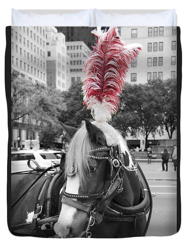 Horse Duvet Cover featuring the photograph Red Feathers by Alice Gipson
