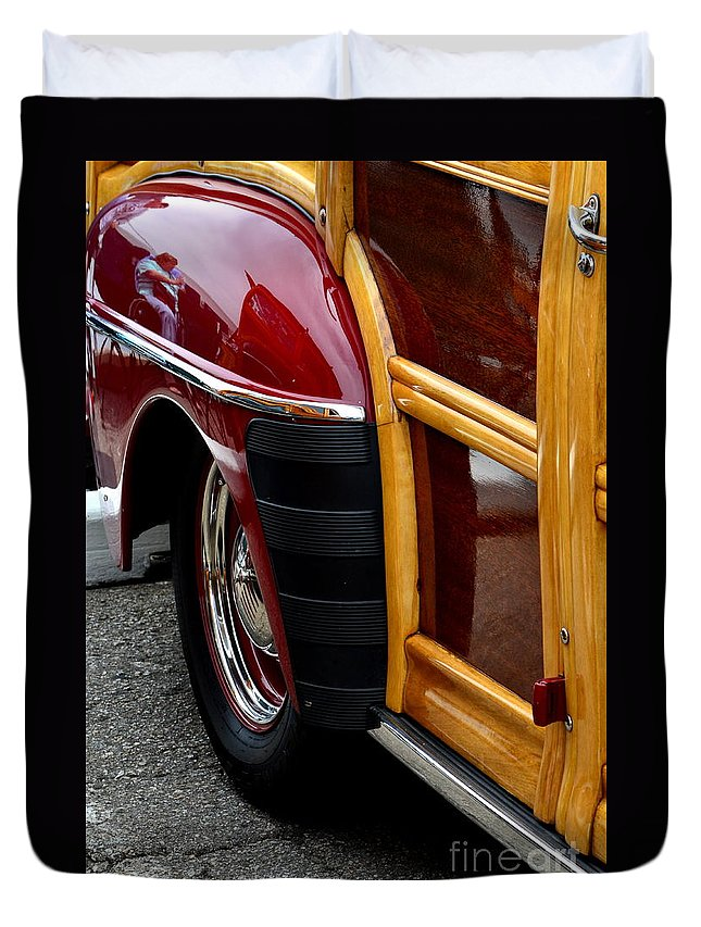Duvet Cover featuring the photograph Red Fendered Woodie by Dean Ferreira