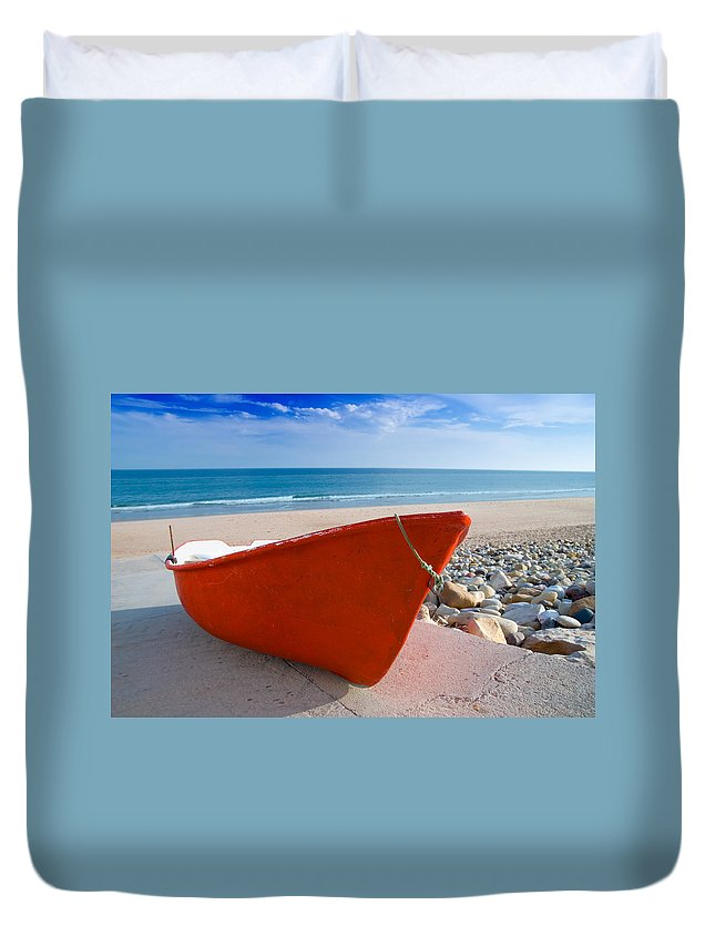 Boat Duvet Cover featuring the photograph Red Fishing Boat Algarve Portugal by Amanda Elwell