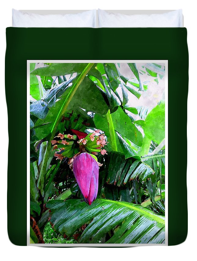 Banana Duvet Cover featuring the painting Red Flower Of A Banana Against Green Leaves by Jeelan Clark