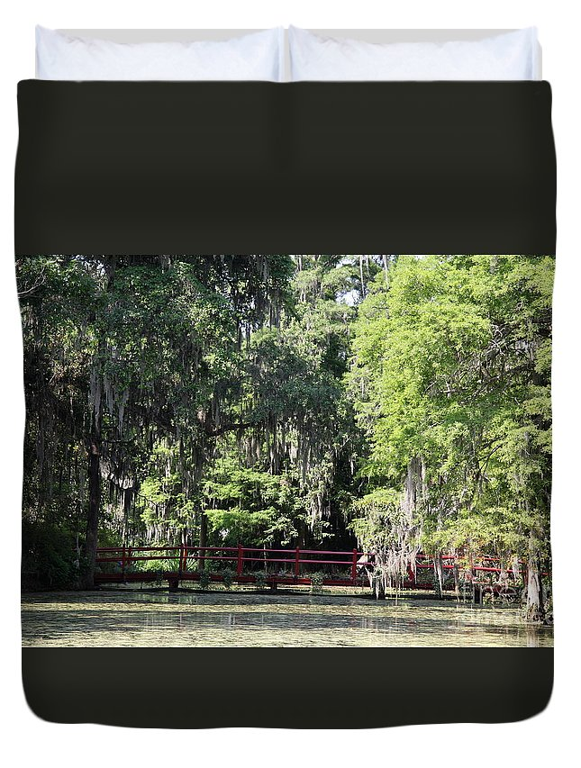 Red Footbridge Over Green Water Duvet Cover featuring the photograph Red Footbridge Over Green Water by Christiane Schulze Art And Photography
