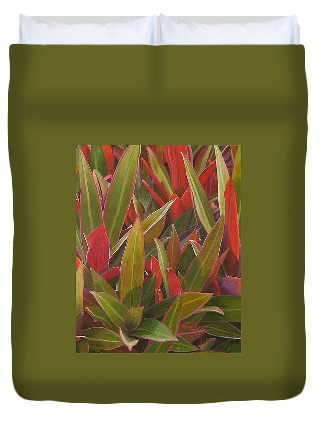 Plants Duvet Cover featuring the painting Red Green And Purple by Thu Nguyen