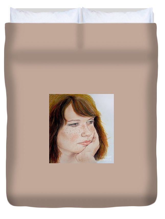Red Hair Duvet Cover featuring the drawing Red Hair And Freckled IIi by Jim Fitzpatrick