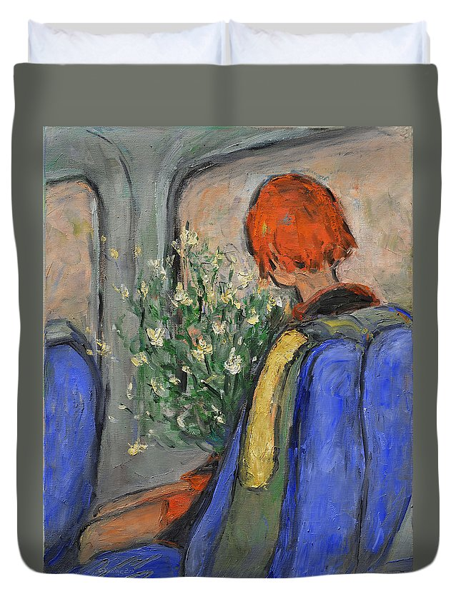 Red-haired Duvet Cover featuring the painting Red-haired Girl On A Sydney Train by Xueling Zou