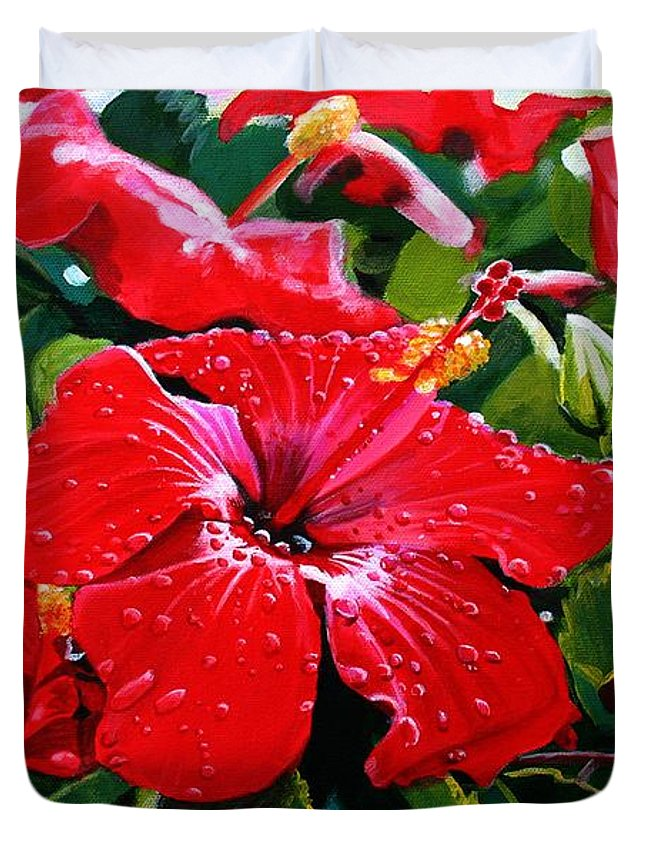 Red Hibiscus Duvet Cover featuring the painting Red Hibiscus by Marionette Taboniar