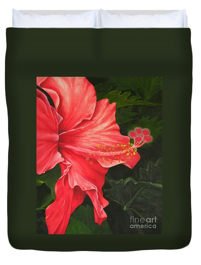 Red Flowers Duvet Cover featuring the painting Red Hibiscus by Mary Deal