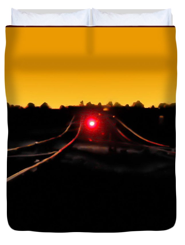 Landscape Duvet Cover featuring the digital art Red Light by Tim Richards