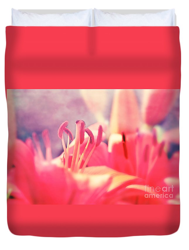 Lily Duvet Cover featuring the photograph Red Lilies by Lali Kacharava