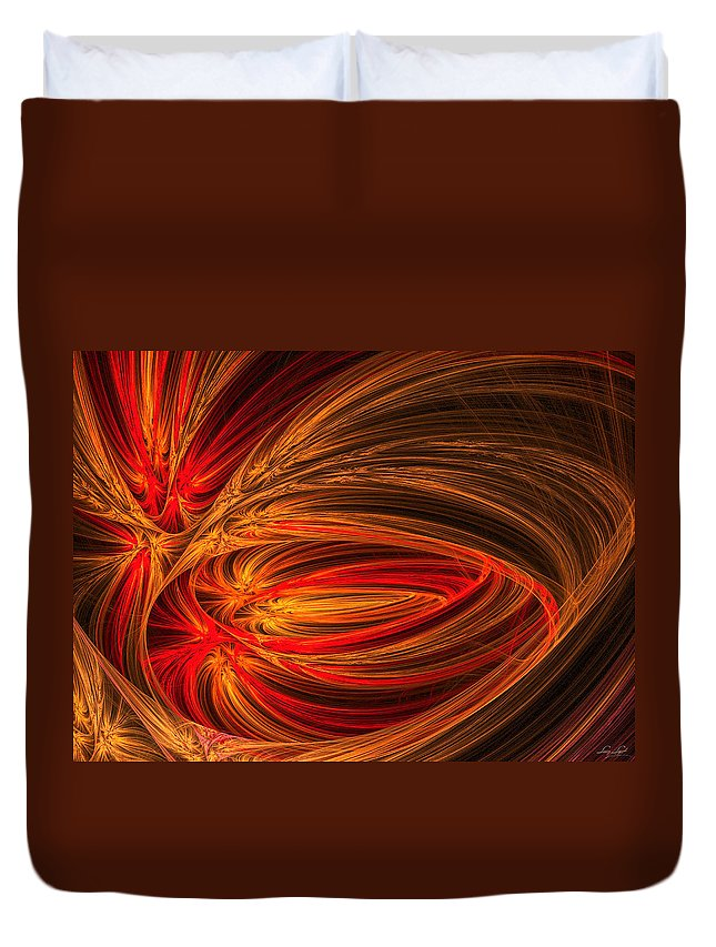 Fractal Duvet Cover featuring the photograph Red Luminescence-fractal Art by Lourry Legarde