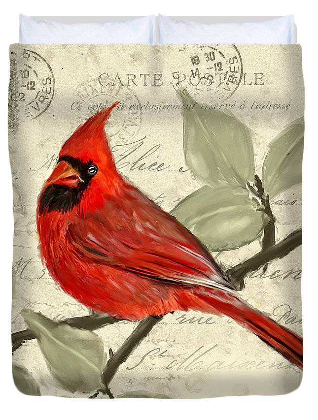 Red Cardinal Duvet Cover featuring the painting Red Melody by Lourry Legarde