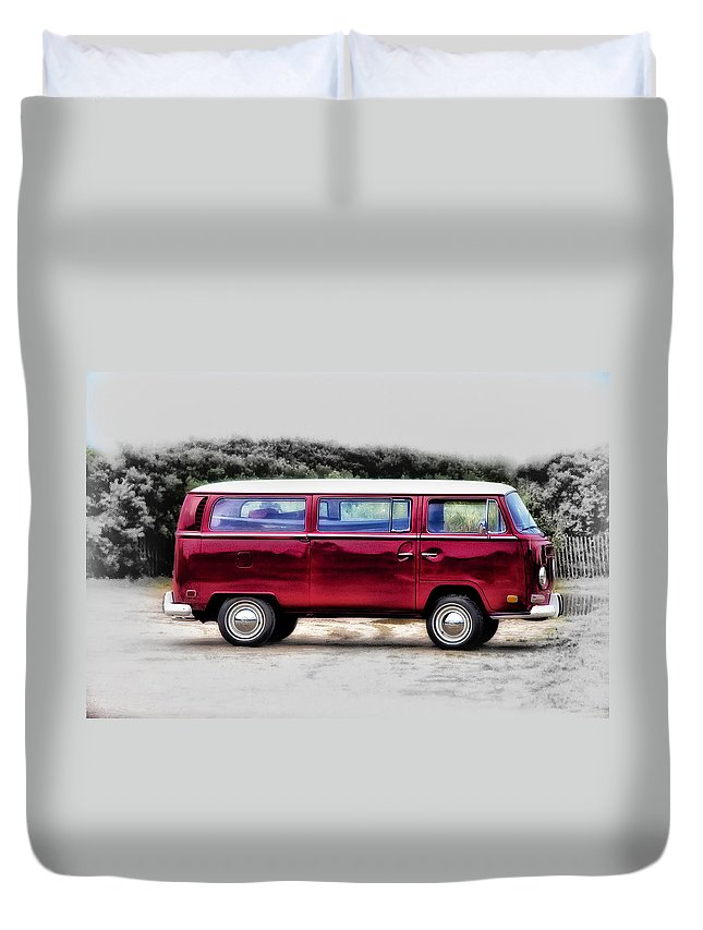 Red Duvet Cover featuring the photograph Red Microbus by Bill Cannon