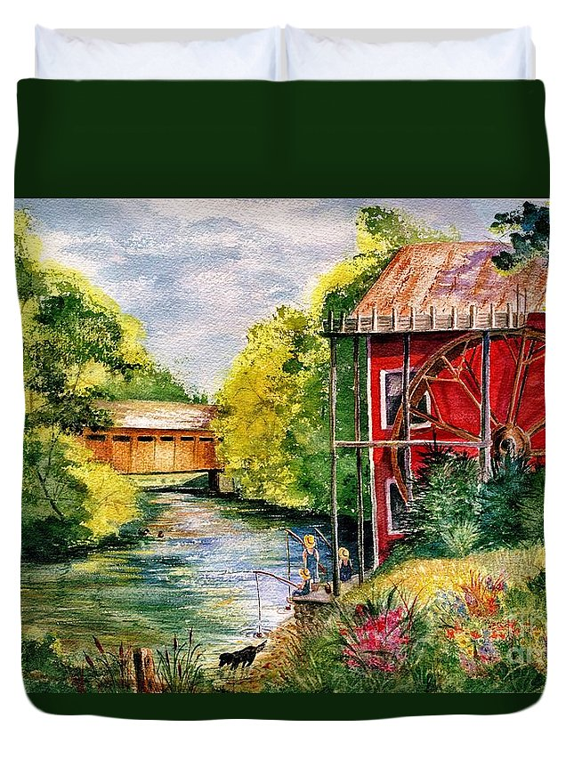 Landscape Duvet Cover featuring the painting Red Mill At Waupaca by Marilyn Smith