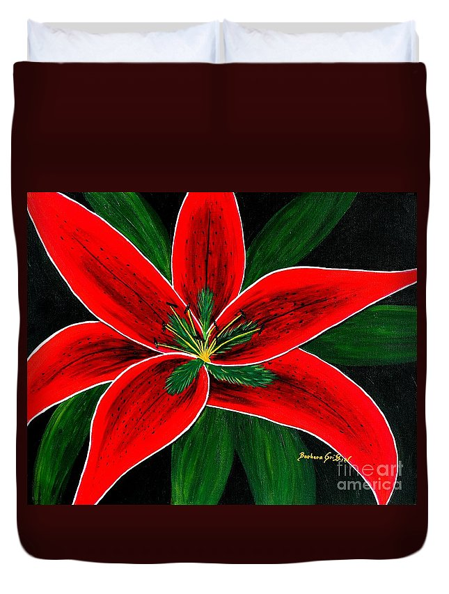 Red Oriental Lily Duvet Cover featuring the painting Red Oriental Lily by Barbara Griffin