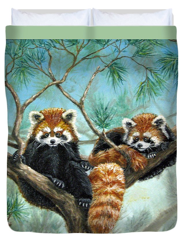 The Other Panda Duvet Cover featuring the painting Red Pandas by Beverly Fuqua